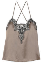 The Gisele metallic lace-trimmed silk-charmeuse camisole