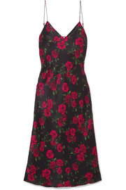 The Raven floral-print silk-charmeuse dress
