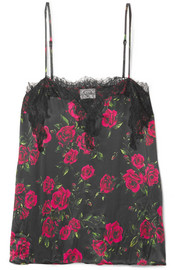 The Sweetheart lace-trimmed floral-print silk-charmeuse camisole