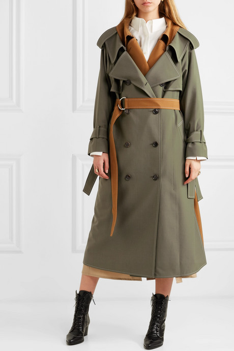 Layered wool-blend gabardine trench coat