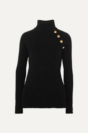 Balmain Button-embellished ribbed cotton-blend turtleneck sweater