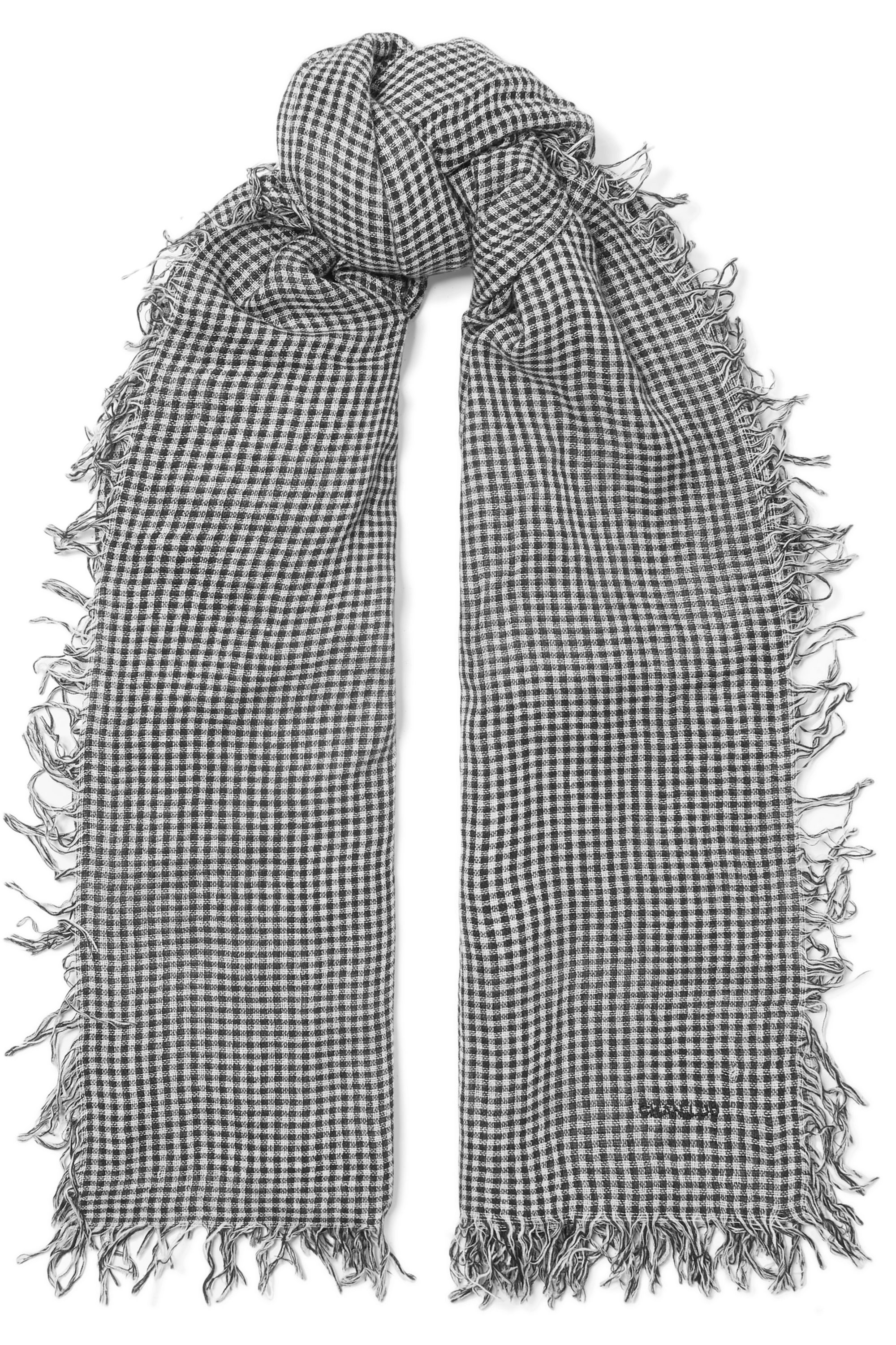 Chan Luu Gingham cashmere and silk-blend scarf