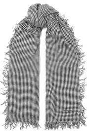 Gingham cashmere and silk-blend scarf
