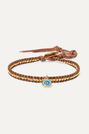 Evil Eye leather, gold-plated and enamel bracelet