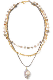 Layered gold-plated, cord and multi-stone necklace