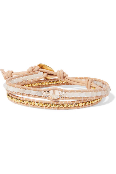 Chan Luu Leather Gold Plated And Agate Wrap Bracelet Net A Porter Com