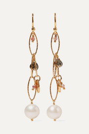 Gold-plated, pyrite and pearl earrings