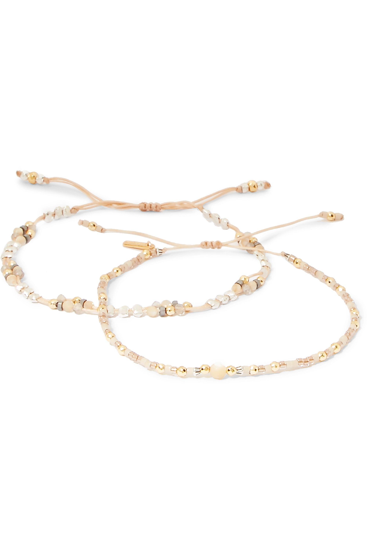 Chan Luu Set of two gold-plated multi-stone bracelets