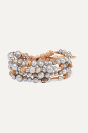 Suede, silver and pearl wrap bracelet