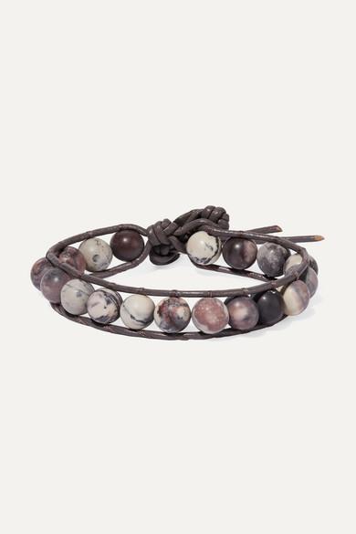Leather, Silver And Jasper Bracelet, Gray