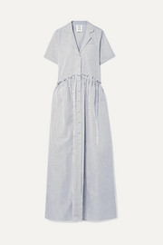 Rosie Assoulin Ruffle-trimmed striped cotton-poplin maxi dress