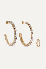 Luci gold-tone crystal earrings and ear cuff