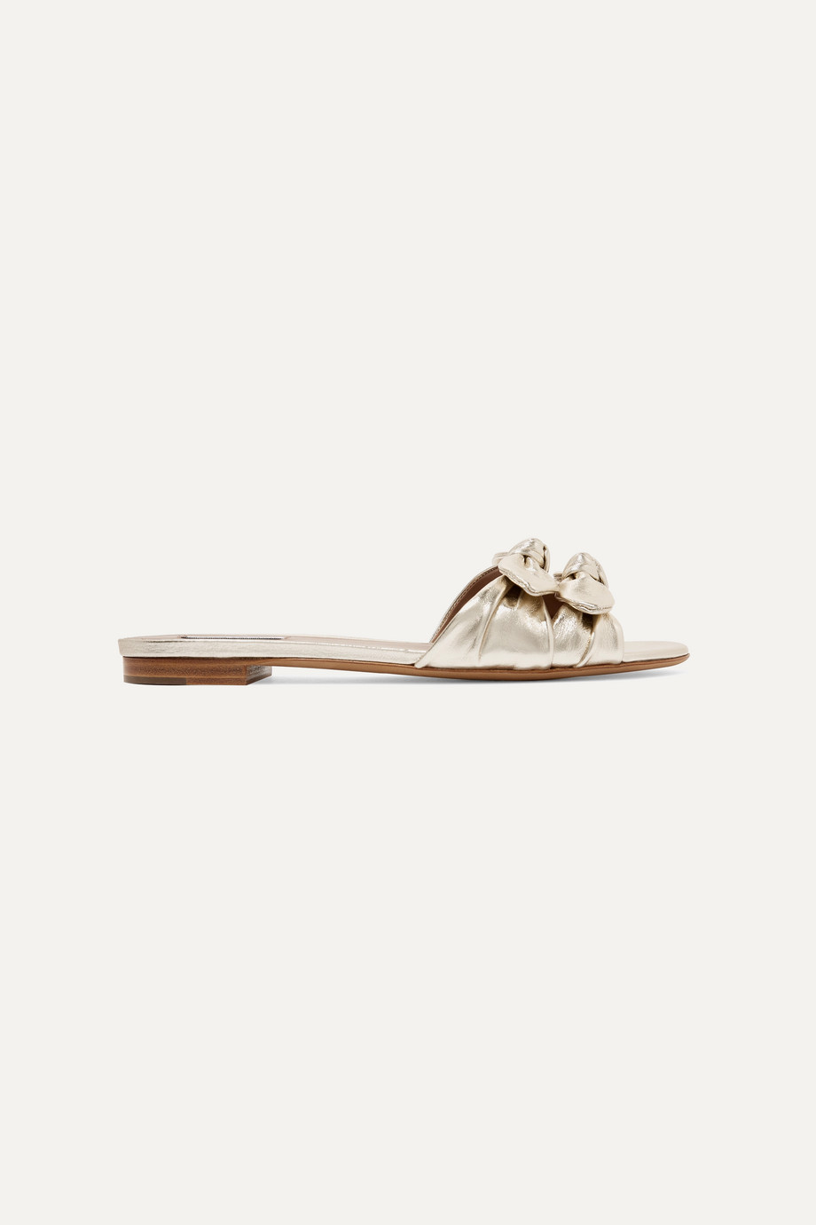 Tabitha Simmons Cleo bow-embellished metallic leather slides