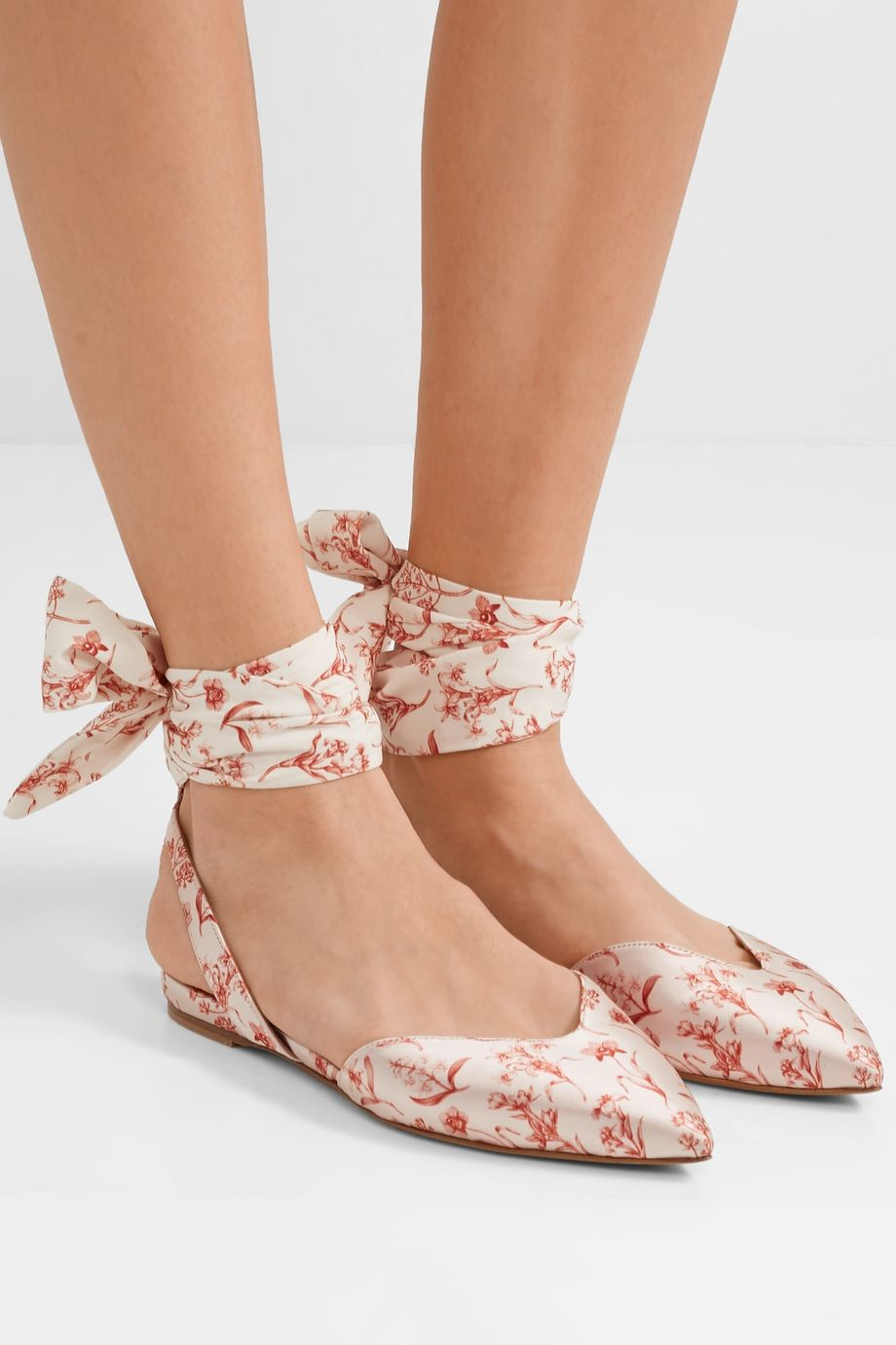 Tabitha Simmons + Johanna Ortiz Vera printed silk-satin and crepe de chine point-toe flats