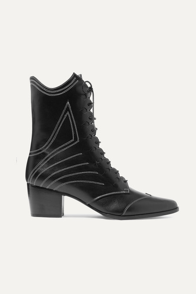 Swing Lace-Up Leather Ankle Boots in Black