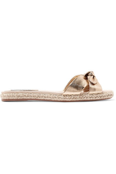 Heli Bow-Embellished Metallic Leather Espadrille Slides in Bronze