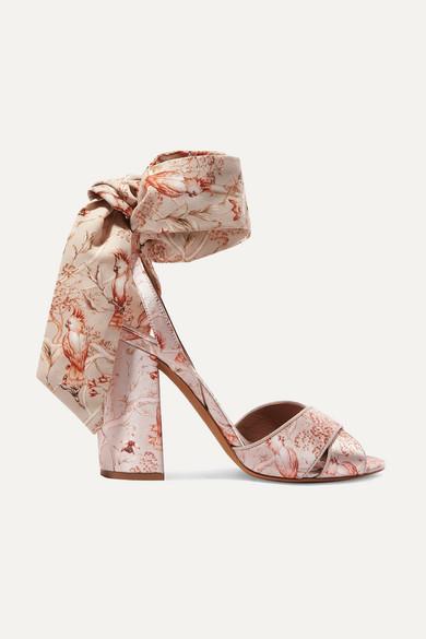 + Johanna Ortiz Connie Printed Silk-Satin And Crepe De Chine Sandals in Antique Rose