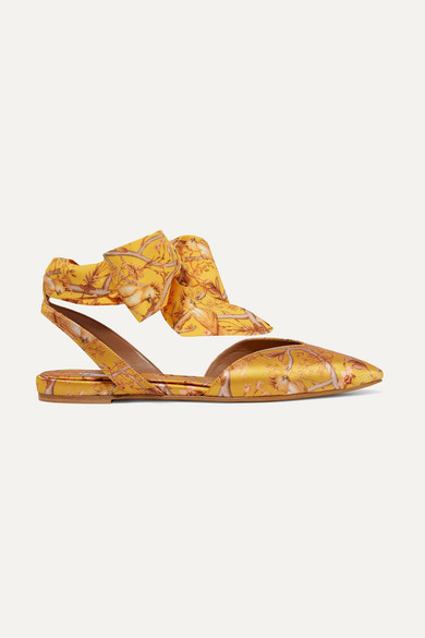 Tabitha Simmons JOHANNA ORTIZ VERA PRINTED SILK-SATIN AND CREPE DE CHINE POINT-TOE FLATS