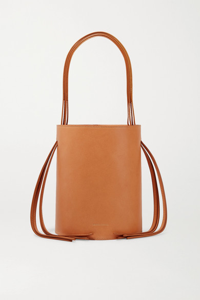 Fringe Pink-Lined Leather Bucket Bag in Tan