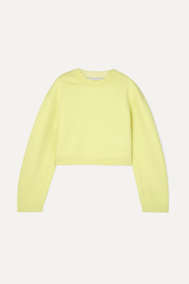 Heavy French Terry Cropped Pullover Sweatshirt in Chartreuse