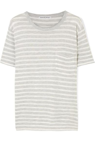 T BY ALEXANDER WANG | T by Alexander Wang - Striped Slub Jersey T-shirt - Ivory | Goxip