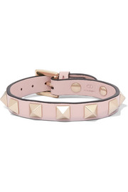 Valentino Garavani The Rockstud leather and gold-tone bracelet