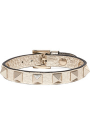Valentino Garavani The Rockstud metallic textured-leather bracelet