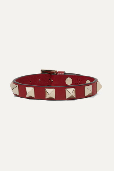 Rockstud Red Leather Bracelet