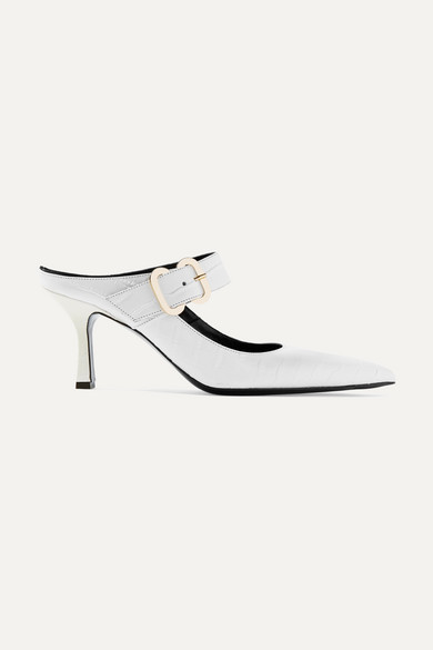 Esmie Croc-Effect Glossed-Leather Mules in White