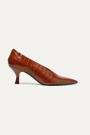 Rafaella glossed croc-effect leather pumps