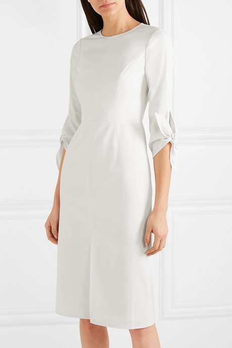 Bow-detailed wool-blend twill dress