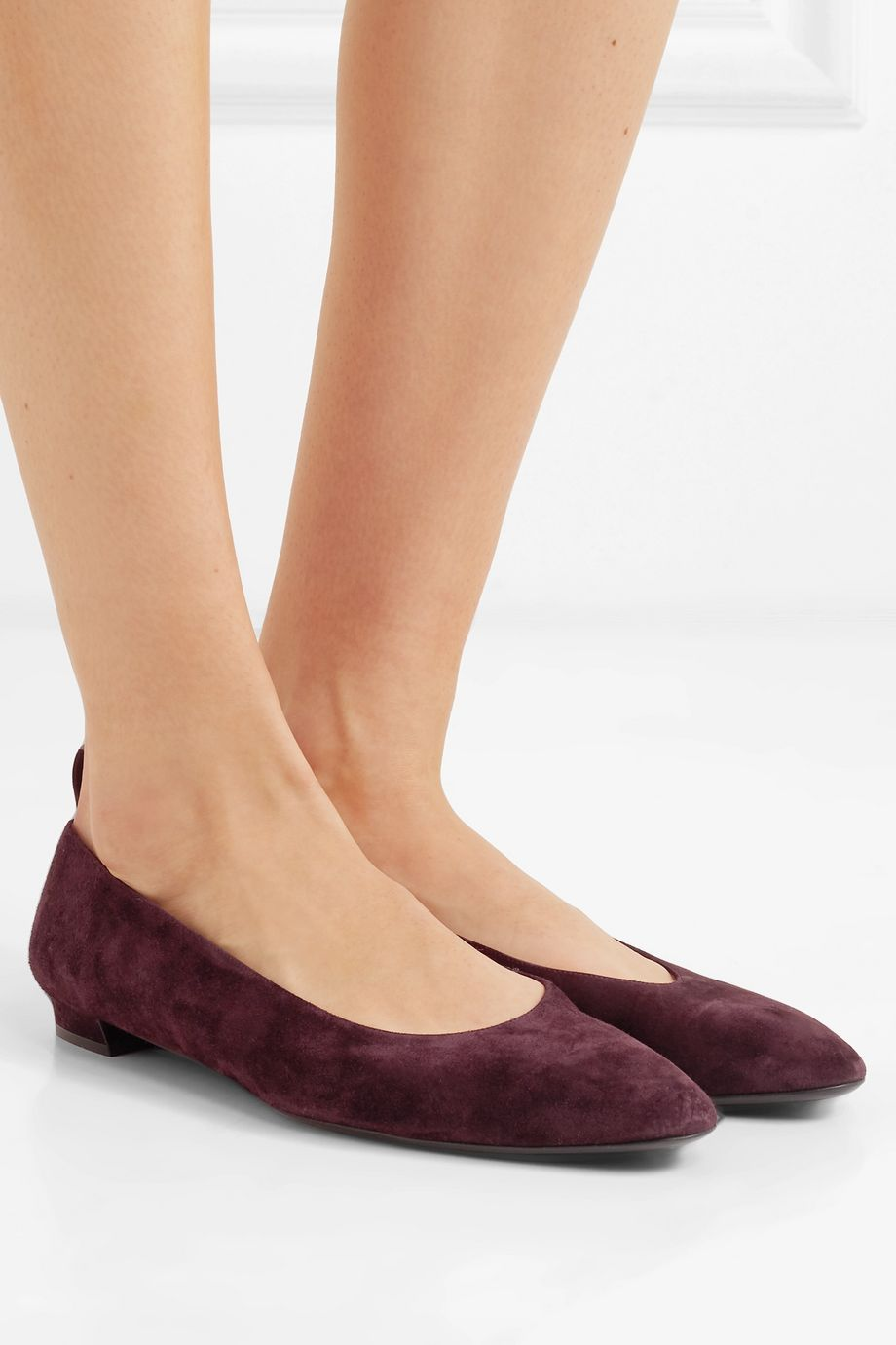 The Row Lady D suede ballet flats