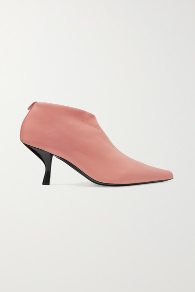 Bourgeoise Leather Ankle Boots - Pale Flamingo Size 9 in Pink
