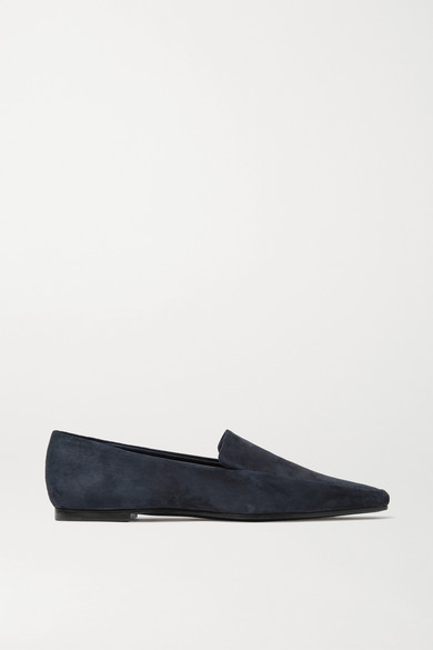 THE ROW Minimal Suede Loafers - Slate Blue Size 7 in Navy