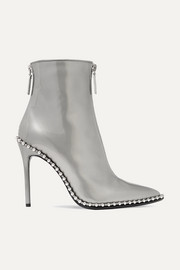 Eri studded metallic patent-leather ankle boots
