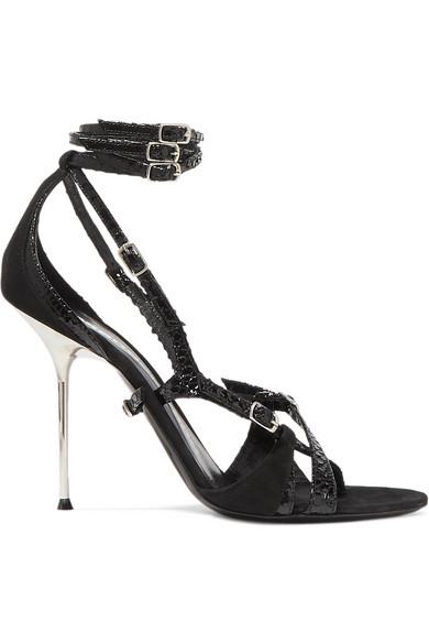 Kiely Strappy Snake-Print Leather-Suede Ankle-Wrap Sandals in Black