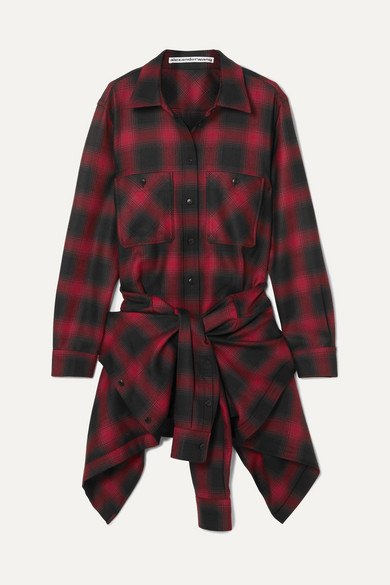 Plaid Wool Flannel Tie-Front Minidress - Red Size 0