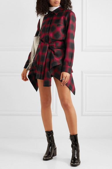 Alexander Wang Dress Checked wool-flannel playsuit