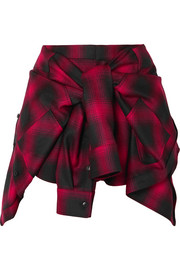 Tie-front checked wool-flannel shorts