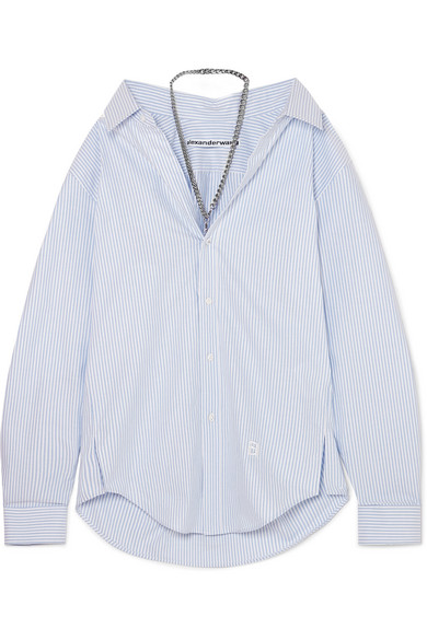 Chain Embellished Striped Cotton Poplin Shirt by Alexander Wang