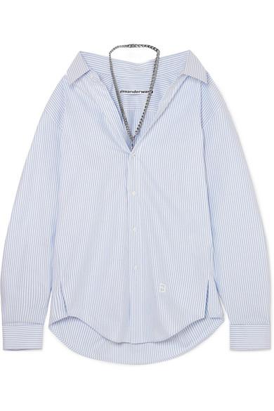 Chain Embellished Striped Cotton Poplin Shirt by Alexander Wang