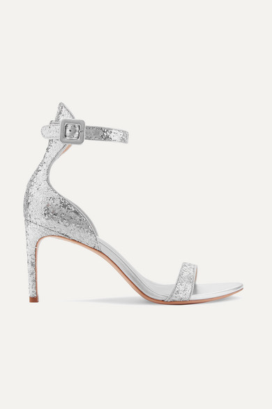 Nicole Glittered Leather Sandals in Silver