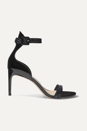 Nicole glittered patent-leather sandals