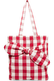 Bessie bow-embellished gingham canvas tote
