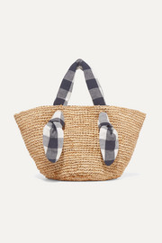 Hazel gingham canvas-trimmed raffia tote
