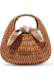 Lorna rattan and gingham canvas tote