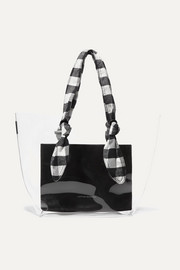 Lydia PVC, leather and gingham canvas tote