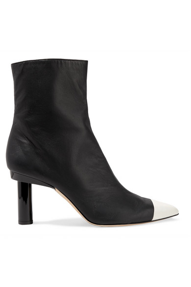 Grant Two-Tone Leather Ankle Boots in Black