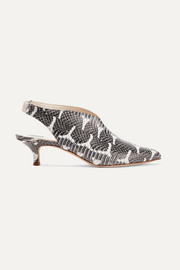 Tibi Max snake-effect leather slingback pumps