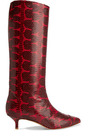 Tibi Hart snake-effect leather knee boots